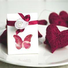 Gastgeschenk Tüte Schmetterling, weiß, Faltschachtel für Hochzeit, Taufe, Kommunion