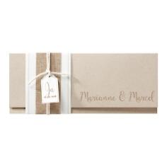 """Hochzeitseinladung """"Kimberly"""" Kraftpapier und Jute Banderole"""