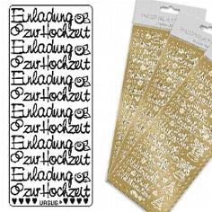 """Sticker """"Einladung Hochzeit"""" gold"""