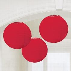 Lampions, rund, rot