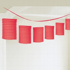 Laterne Girlande rot als Hochzeitsdeko