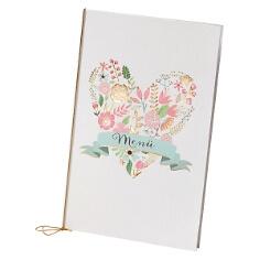 """Menükarte zur Hochzeit """"Anna"""" mit Blütenprint"""