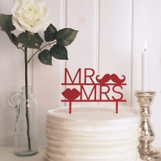 Cake Topper Moustache in Rot
