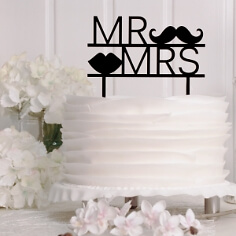 Cake Topper Moustache in Schwarz