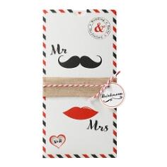 Hochzeitseinladung Mr & Mrs in Schwarz-Rot
