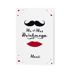 Menükarte Mr & Mrs mit Moustache