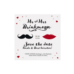 Save the Date oder Dankeskarte Mr & Mrs mit Moustache