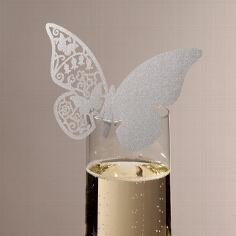 "Namenskarte ""Schmetterlin"" in Silber"
