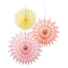 """Papierdeko """"Fächer"""", 3 St., rosa/apricot/gelb - Papierfächer in verschiedenen Farben"""