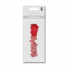 """Papier-Bordüre """"Flora"""", rot, selbstklebend - rote Papierbordüre"""