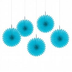 Papierdeko Fächer, blau
