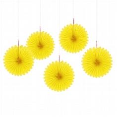 Papierdeko Fächer in Gelb
