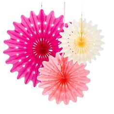 """Papierdeko """"Fächer"""", 3 St., pink/rosa/creme - papierfächer in verschiedenen Farben"""