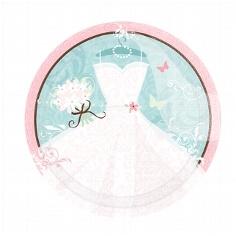 """Pappteller """"Brautkleid"""" für die Hochzeitsdeko"""