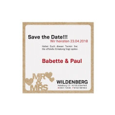 Save the date Karte mit Mr&Mrs Aufdruck