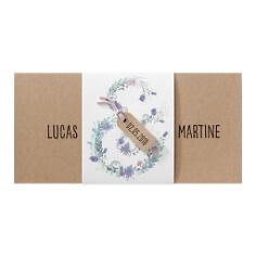 Blüten verzierte Einladungskarte