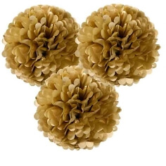 "Pompoms ""Fluffy"", 3 St., gold"
