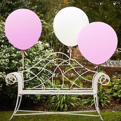 Riesen-Luftballons, 3 St., rosa, weiß