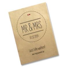"""Gastgeschenk Saattüte """"Mr & Mrs"""", natur - Gastgeschenk-Tüte zur Hochzeit"""
