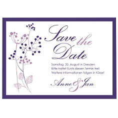 "Save the Date Karte ""Purple Passion"" - lila"