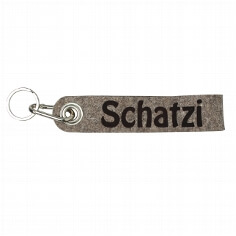 """Schlüsselanhänger """"Schatzi"""" aus grau-braunem Filz"""