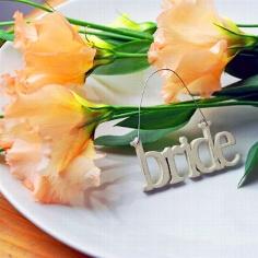 """Kleiner Schriftzug aus Holz """"Bride"""" zur Hochzeit"""