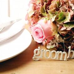Kleiner Schriftzug aus Holz Groom zur Hochzeit