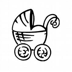 Stempel Kinderwagen für Geburtskarten