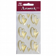 """Sticker """"Art Work"""" Goldene Herzen für kreative Hochzeitskarten"""