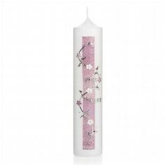 Kerze zur Taufe weiß-lila mit silbernem Blumenornament