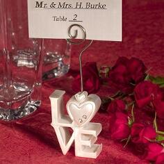 """Tischkartenhalter Hochzeit """"Love"""", weiß"""
