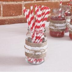 """Papier-Trinkhalme """"Streifen"""", 25 St., rot-weiß"""
