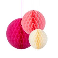 Wabenbälle, 3 St., pink/rosa/creme - Wabenbälle in verschiedenen Farben
