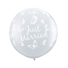 "XXL Ballons rund ""Just Married"", transparent, 2 St"