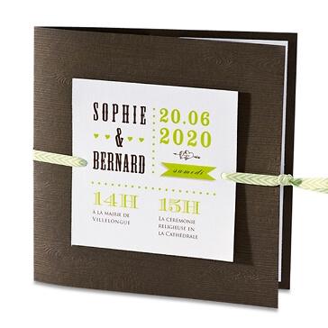 Hochzeitseinladung RENI mit Holzoptik in Grün