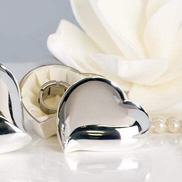 Ringdose in Herzform, silber