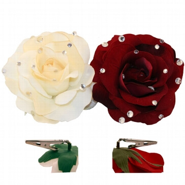 Rosenblüte Glamour mit Clip, creme