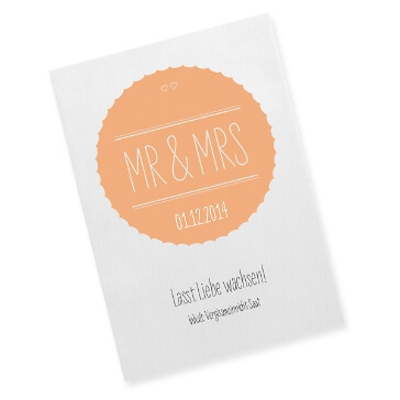 Gastgeschenk Saattüte Mr & Mrs, apricot - Bedruckte Gastgeschenk-Tüte