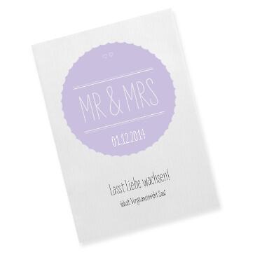 Gastgeschenk Saattüte Mr & Mrs, flieder - Tüte als Gastgeschenk