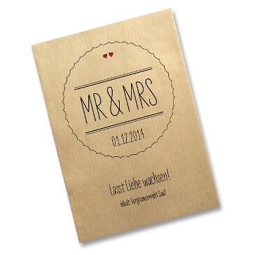 Gastgeschenk Saattüte Mr & Mrs, natur - Gastgeschenk-Tüte zur Hochzeit