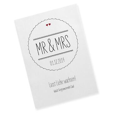 Gastgeschenk Saattüte Mr & Mrs, schwarz - Gastgeschenk-Tüte zur Hochzeit