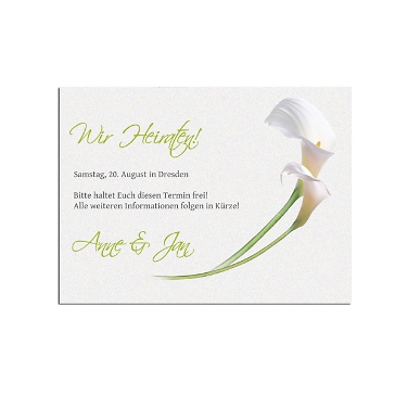 "Save the Date-Karte ""White Calla"""