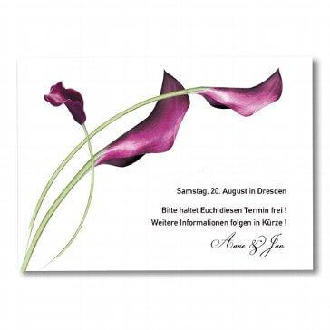 Save-the-Date Karte Calla - für die Hochzeit