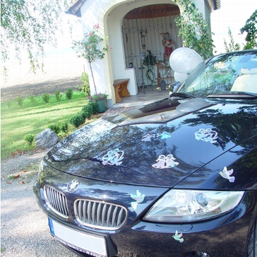 Scheibendeko Hochzeitsauto