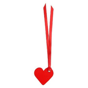 Schild Herz mit Satinband, rot, 12 St. - romantsiches Schild als Deko-Accessoire
