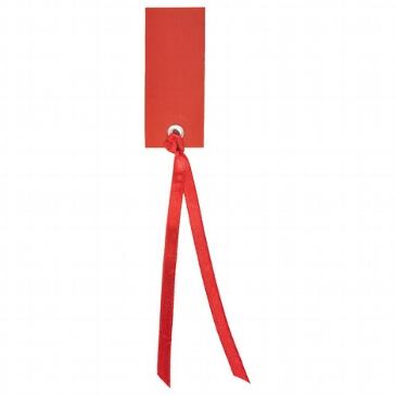 Rotes Schild zum Beschriften mit Satinband zur Hochzeit