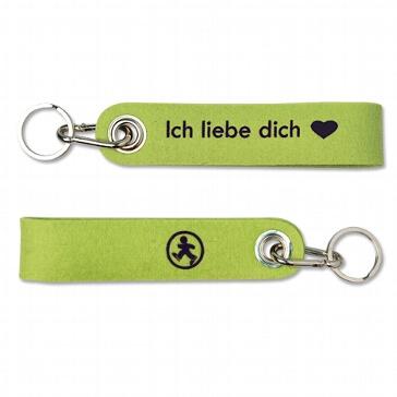 Schlüsselanhänger Ich liebe dich kiwi aus Filz