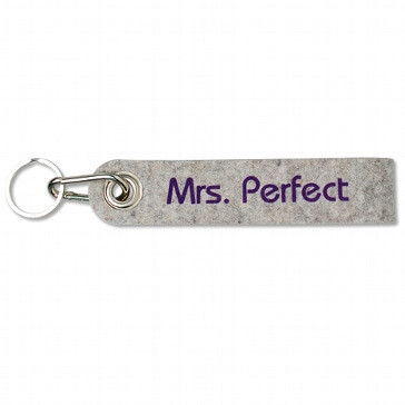 "Schlüsselanhänger ""Mrs. Perfect"" aus silbergrauem Filz"
