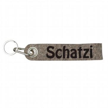 Schlüsselanhänger Schatzi aus grau-braunem Filz