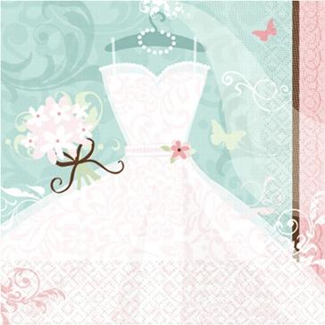 Servietten Brautkleid für den Empfang, Junggeselinnenabschied und standesamtliche Trauung